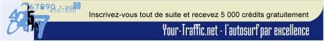 Your-Traffic.net vous propose de générer facilement des milliers de visites sur votre site. Et ce, que vous soyez un webmaster averti ou non. Augmenter vos visites est simple grace à notre système d'autosurf.